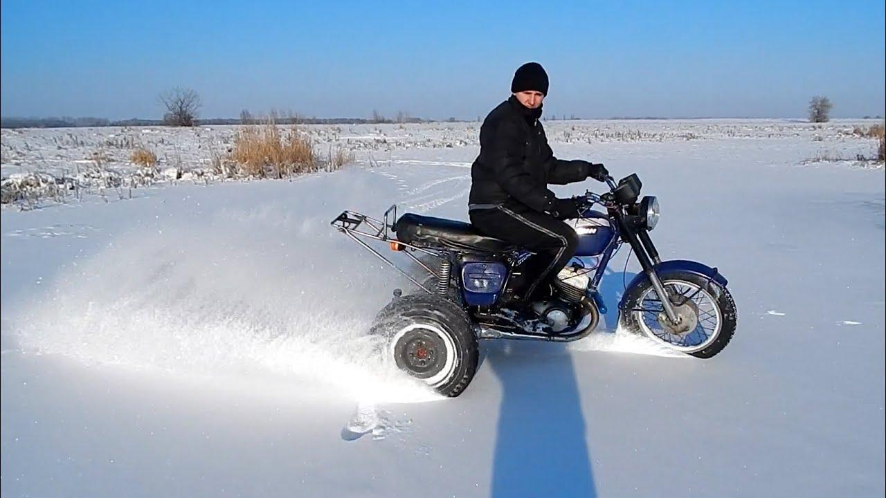 Как сделать из мопеда альфы снегоход