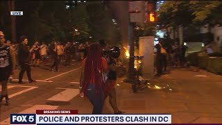 VIDEO: Dumpster explosion scatters protesters in DC | FOX 5 DC