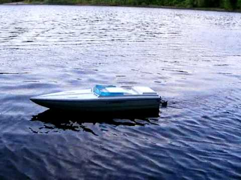 my new rc boat with twin weedeater engine