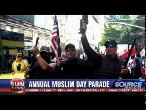 Pamela Geller on Ezra Levant Discussing Muslim Day Parade in NYC with Guns, Hanged and Caged Women