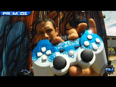 Blue Hex Custom PS3 Controller & Holographic Zebra Stripe Custom Xbox Controller by ProModz.com
