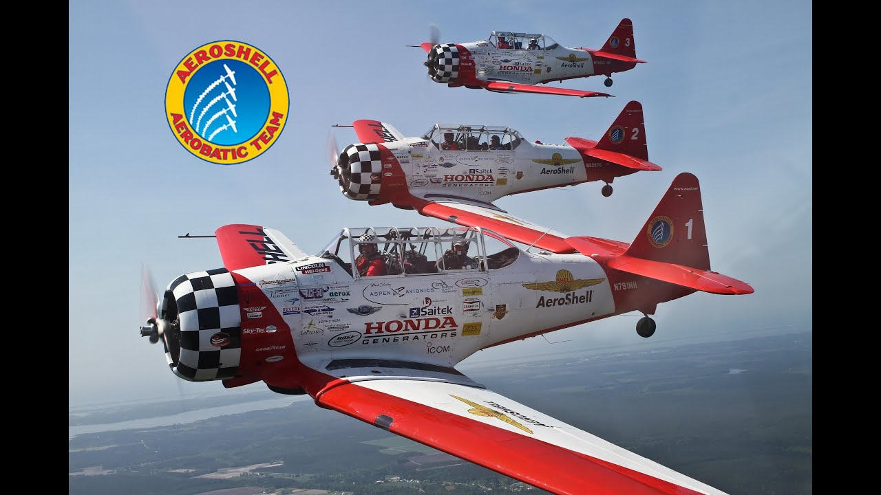 Aeroshell Aerobatic Team Flying In The T 6 Texan At The