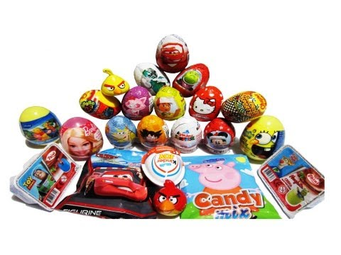 20 Surprise Eggs Kinder Surprise Disneyland SpongeBob Peppa Pig Toy Story Disney Pixar Cars Unboxing