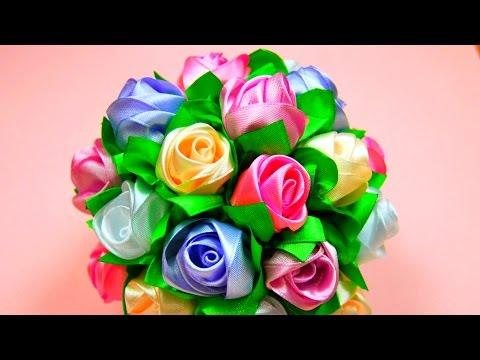 179Как сделать букет из атласных роз своими руками