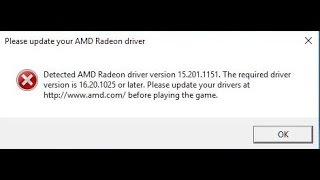 Battlefield 1 Please update your AMD Radeon driver