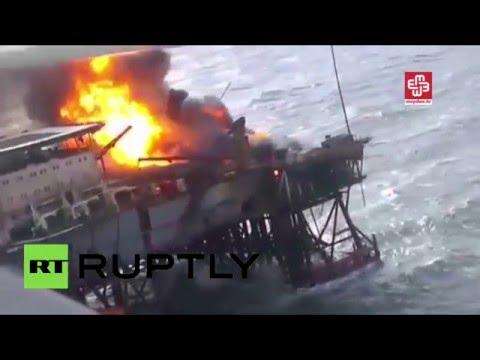 Huge blaze rips through Azeri oil rig in Caspian Sea, dozens missing