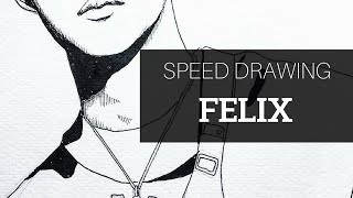 Felix from Stray Kids || K-POP Fanart || SPEED DRAWING