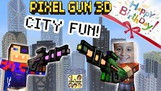 Dad & Son play Pixel Gun 3D: Fun in the City!  + Happy Birthday Teevers! (pt. 15)