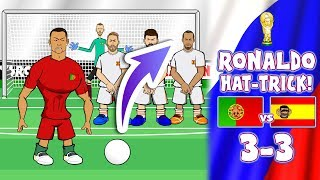 💥RONALDO HAT-TRICK!💥 3-3! Portugal vs Spain (World Cup 2018 Goals Highlights Parody)