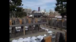 Visiting S47 Site at Sengakuji Temple 泉岳寺 - 雪あり (130117)