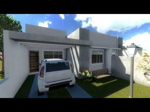 Projeto de casas modelo de uma casa geminada com 2 youtube for Modelos de casas procrear clasica