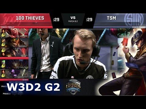 100 Thieves vs TSM   Week 3 Day 2 of S8 NA LCS Spring 2018   100 vs TSM W3D2 G2