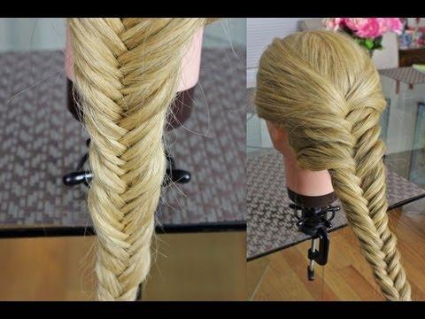 Плетение кос : Рыбий хвост. Fishtail braid hairstyle
