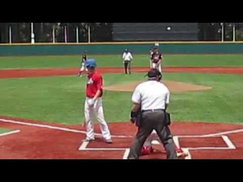 carolina cubs catcher and cleanup hitter jordan bryant gets nice backside hit in capital city classic wood bat tournament on jack coombs field at duke university vs k-zone baseball academy 7/20/2013.