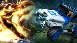 Jurassic Park Jeep + T-Rex Showcase & Gameplay | Rocket League