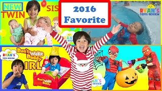 Ryan ToysReview Rewind 2016 Family Fun Kids Playground Twin Sisters Pie Face Don