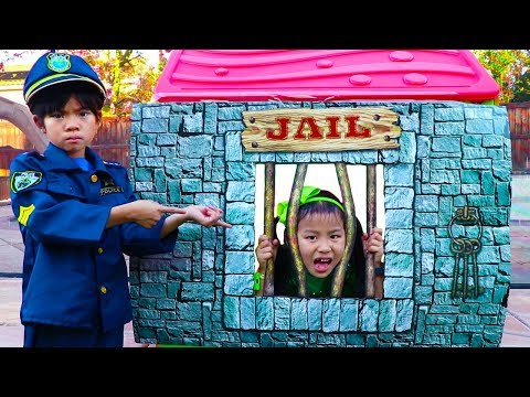 Emma Pretend Play as Cop LOCKED UP Jannie in Jail Playhouse Toy for Kids
