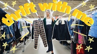 COME THRIFT WITH ME FOR FALL |thrifting sweaters, jackets + more | BIG fall try on thrift store haul