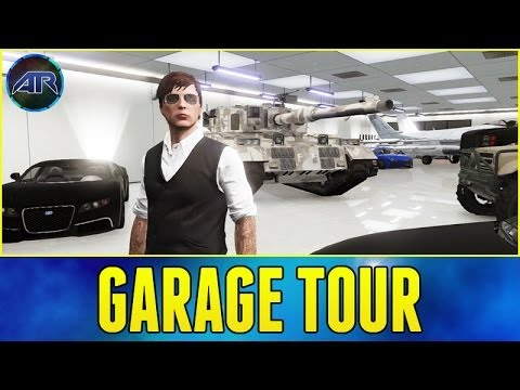 Grand Theft Auto 5 Online : Garage Tour! (Rhino Tank. Fighter Jet. Adder)