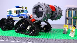 LEGO Cars and Trucks Experemental Steamroller Police, Fire truck, tractor, dump truck Video for Kids