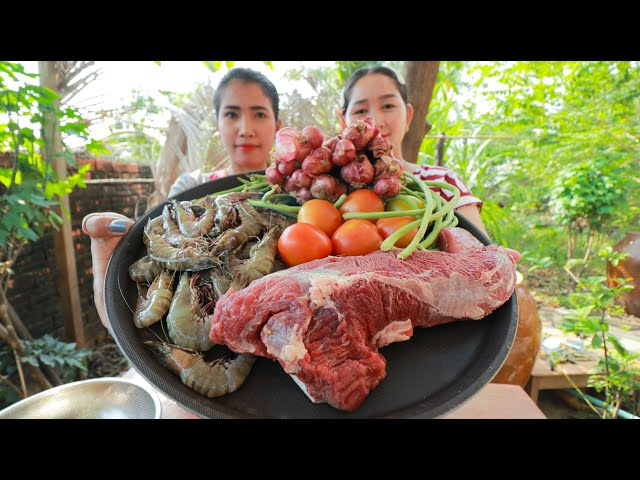 Play this video Beef Salad Cooking Corn - Cooking With Sros