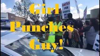 Cars Run Through Protesters Girl Punches Guy