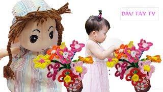Hướng dẫn làm hoa từ sợi kẽm nhung ❤ Bé Dâu tự làm hoa tặng bà 20-10❤ Dâu Tây ToysReview TV ❤