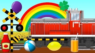 Learn Rainbow Colors with Freight train | 虹の色を覚える踏切アニメ