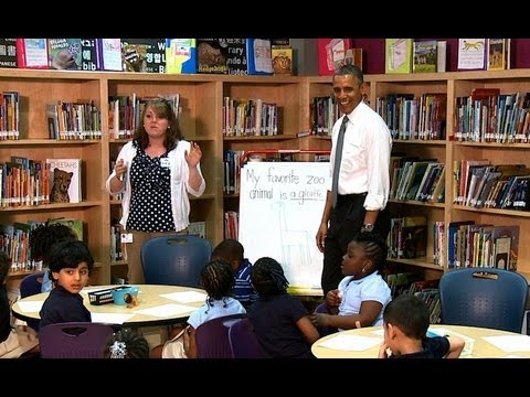 President Obama sits down with a class of students at Moravia Park Elementary School. May 17, 2013.