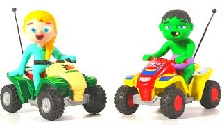 SUPERHERO BABIES USE MOTORBIKES ❤ Spiderman, Hulk & Frozen Play Doh Cartoons For Kids