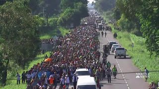 Migrant Caravan Pushes Forward After Stop At Guatemala-Mexico Border   NBC Nightly News