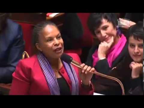 Christiane Taubira défend le mariage pour tous avec vigueur à l'Assemblée Nationale.