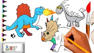 Dinosaur coloring book pages - Coloring Pages for Kids to learn colors With Dinosaurs