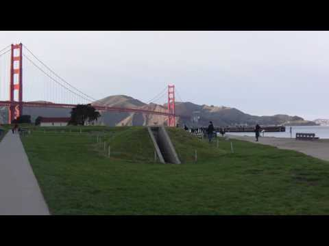 Green Globe next to San Francisco Golden gate