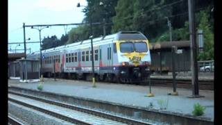 French freight trains at De pinte (Belgium).avi