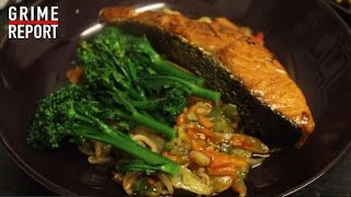 Whippin In Da Kitchen (Cooking Show) [Ep5] Stir Fry, Salmon & Broccoli | Grime Report Tv
