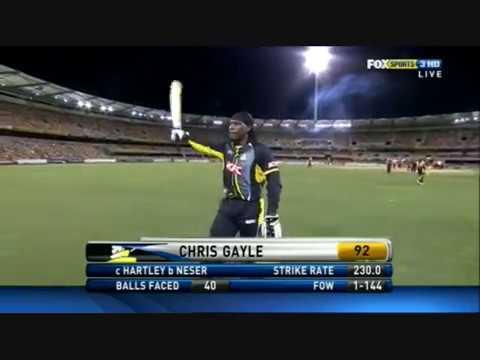Chris Gayle 92(40) Wa Vs Qa 25-01-11 video
