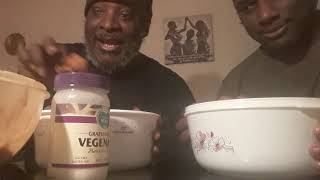 Father and sun vegan chicken eating contest part 1