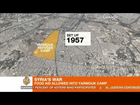 Starving Syrian refugees get food aid
