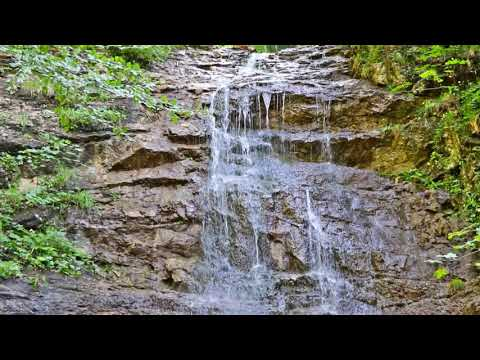 Calming rocky waterfall in the mountains. Relaxing Water Sounds. (10 hours) White Noise.
