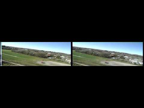 Flying EasyStar FPV in 3D using new 3D-Cam FPV (cross your eyes to view in 3D)