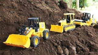 รถแม็คโคร รถตักดิน รถเกรด รถดันดิน รถบดดิน ขุดดินข้างภูเขาก่อสร้าง ทำถนน Excavator Wheel Loader Work