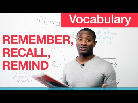Vocabulary – REMEMBER, RECALL, REMIND