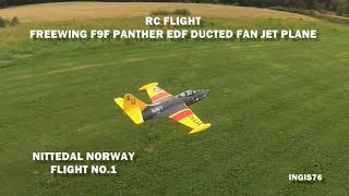 RC FLIGHT F9F PANTHER EDF DUCTED FAN JET PLANE FLYING FUN NITTEDAL NORWAY NO 1