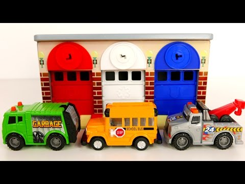 Garbage Truck School Bus Tow Truck Vehicles for Kids and Garage Playset