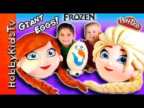Mega GIANT ELSA Anna Frozen Surprise Eggs! Olaf Toys Play-Doh Egg, Chocolate Eggs HobbyKidsTV