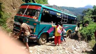 BUS SAVED FROM ACCIDENT BY CHANCE NEPAL