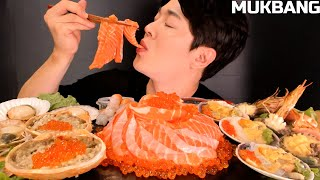 SALMON SASHIMI, CRAB, CLAM, ABALONE, SHRIMP MOST POPULAR SEAFOOD EATING SHOW MUKBANG 먹방