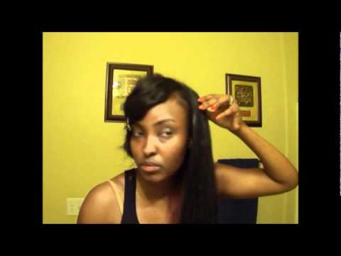 My Indian hair with a deep side bang sew in and colored! TUTORIAL