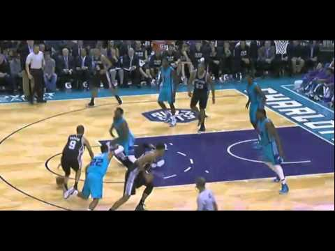 P.J. Hairston flop on Tony Parker: San Antonio Spurs at Charlotte Hornets